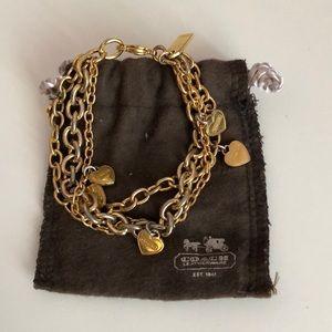 Coach 3 strand heart charm bracelet